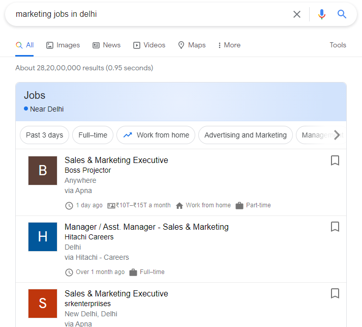 job posting structured snippet
