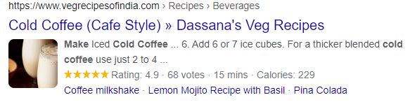 recipe structured snippet