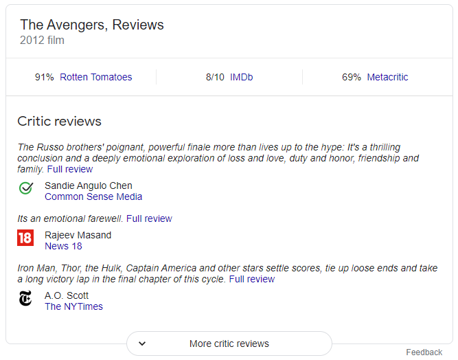 critic review structured snippet