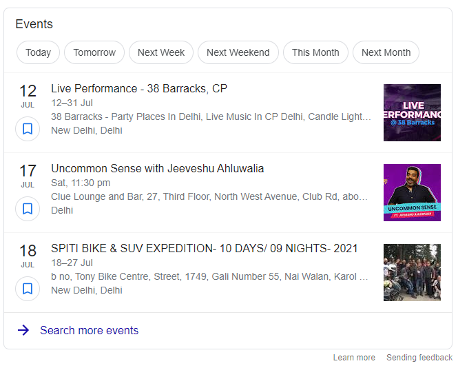 event structured snippet